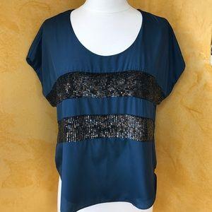 Teal Blue Sequin Top
